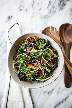 Rainbow Kale Salad | kale, carrots, broccoli stem, blueberries, cherries, hemp seeds