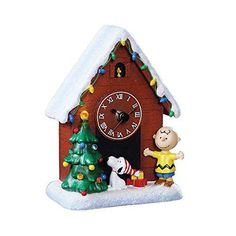 Roman 31026 6 LED Snoopy Clock Charlie Brown and Woodstock Christmas