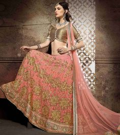 #Peach #Net Embroidered Semi Stitched #Lehenga Set by #Awesome #World at #Indianroots