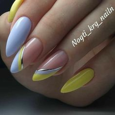 Acrylic Nails Coffin Short, Almond Acrylic Nails, Best Acrylic Nails, Yellow Nails, Pink Nails, Almond Nails Designs, Nail Designs, Gorgeous Nails, Pretty Nails