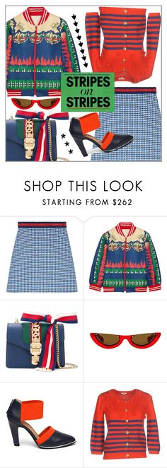"""""""Pattern Challenge: Stripes on Stripes"""" by pat912 ❤ liked on Polyvore featuring Gucci, Anna Sui, PAWAKA, Jady Rose, Manoush, polyvoreeditorial, stripesonstripes and PatternChallenge"""