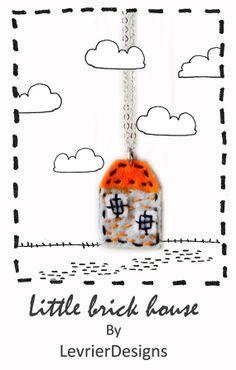 Little brick house by LevrierDesigns felt jewellery