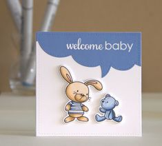 BlueFogStudio: My Favorite Things stamp snuggle bunnies Pop Up Cards, Cute Cards, Baby Cards, Kids Cards, New Baby Girl Congratulations, Mft Stamps, Quilling Cards, Welcome Baby, Card Maker