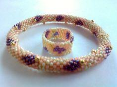 Snake Bracelet Ring Set Toho Crochet Beaded Jewelry Beadwork