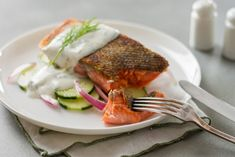 Salmon with Lemon-Dill Creme perfect sous vide salmon, as well as recipes for Lemon-Dill Creme Salmon with Lemon-Dill Creme Fraiche Fraiche and Chilled Cucumber Salad to go with it. Lemon Recipes, Fish Recipes, Seafood Recipes, Cooking Recipes, Healthy Recipes, Whole30 Recipes, Healthy Eats, Sous Vide Salmon Recipes, Cooking Salmon