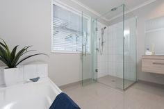 A large bathroom for family use.