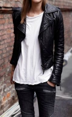 Edgy look | Leather jacket, white t-shirt and black pants