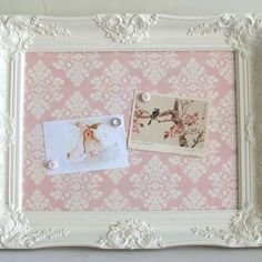 Fabric pin board with vintage frame !  Adore <3 gotta make it