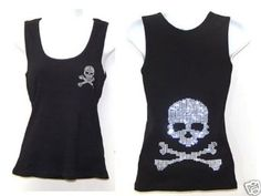 Amazon.com: Pirate Skull Bone Rhinestone Black Tank Top Sz M - 2xl: Clothing