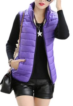 Vests Winter Slim Fit Thick Quilted Down Puffer Vest Jacket Outerwear Purple Vests, Puffer Vest, Vest Jacket, Outerwear Jackets, Winter Jackets, Slim, Fitness, Compact, Outdoor