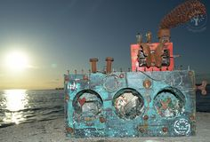 """Today I want to share with you an """"altered ship"""". Τhis month, I am invited as a Guest Designer at the """"A Vin. Alters, Steampunk, Mixed Media, Ship, Handmade, Design, Hand Made, Ships"""