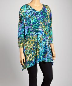 Another great find on #zulily! Blue & Green Jungle Ikat Sidetail Tunic - Plus by DJ Summers #zulilyfinds