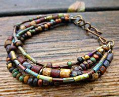 Customization. Multi-strand Bohemian, hippie bracelet. Earth tone. Picasso Czech seed bead glass Jewelry. Trinity brass S clasp.. $30.00, via Etsy.
