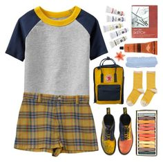 """""""//sketchbook//"""" by bananafrog ❤ liked on Polyvore featuring Old Navy, Dr. Martens, Hansel from Basel, Fjällräven, Aesop and natjulieta"""