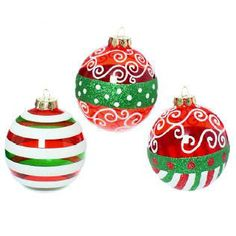 """4"""" Red, White and Green Ball Ornaments; These ornaments are bright green and red with white flocking. They really stand out in any arrangement.  You don't need many to make a bold statement.       3 assorted styles    4""""    Glass"""