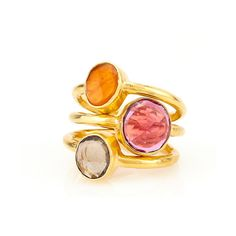 Stacking Gemstone Rings (CAPQSQ) ($275) found on Polyvore