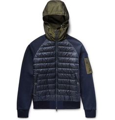 MONCLER Shell And Loopback Cotton-Jersey Hooded Down Jacket