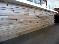 nicer than stacked stone - cladding Wood Wall Design, Wooden Wall Art, Wooden Walls, Timber Feature Wall, Timber Cladding, Stone Cladding, Compound Wall, Family Room Walls, Timber Walls