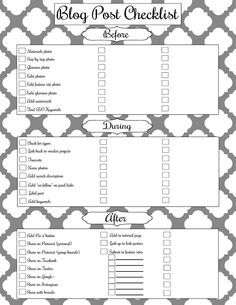 Blog Post Checklist Free Printable. All of the things that you need to do before, during, and after writing a blog post! Printable can be found @ girllovesglam.com