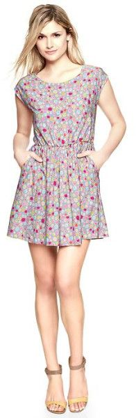 Gap Pink Printed Flare Dress