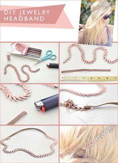 Trucs et astuces pour fabriquer un headband bijoux de cheveux longs et cours, faire, créer par soi même un headband en bijou simple, mode, original.