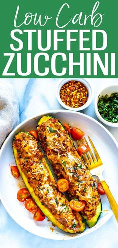 These BEST EVER Italian Stuffed Zucchini Boats are filled with bolognese sauce and mozzarella cheese – they're a healthy, low carb dish! #zucchiniboats #lowcarb Large Zucchini Recipes, Zuchinni Recipes, Stuffed Zucchini Recipes, Good Healthy Recipes, Whole Food Recipes, Delicious Recipes, Fun Recipes, Skinny Recipes, Sweets Recipes