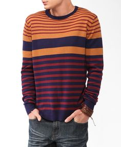 Striped Colorblock Sweater | 21 MEN