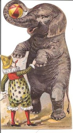 Willimantic Star Thread Trade Card, Clown & Elephant # clowns are healers # bring on the laughter Circus Crafts, Circus Art, Circus Theme, Circus Birthday, Circus Room, Birthday Parties, Vintage Ephemera, Vintage Paper, Vintage Art