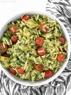 Zucchini and Orzo Salad with Chimichurri is a fresh summer salad that makes the perfect side for summer grilling. BudgetBytes.com
