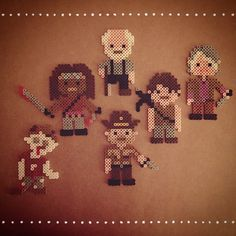 The Walking Dead characters perler beads by crackersinbed