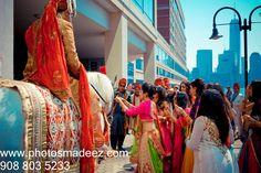 Baraat for the Punjabi Groom at The Hyatt Jersey CIty - Indian Wedding. Hindu Wedding Baraat - Best Wedding Photographer PhotosMadeEz, Award winning photographer Mou Mukherjee. Along with bollywood djs entertainment and Raj Daffu Featured in Maharani Weddings. #subinandmehak