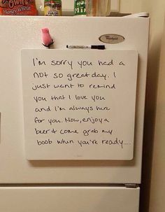 Funny Love Notes, this lady knows how to cheer a guy up lol.