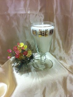 GLASS Short Stemmed with Gold & White Border Candle (1), $15.95 NZD **SOLD** Vintage Candles, Soy Wax Candles, Glass Vase, Container, Pottery, Table Decorations, Gold, Home Decor, Ceramics