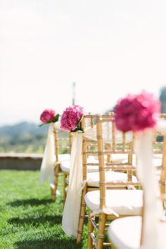 bright pink hydrangeas lining the aisle