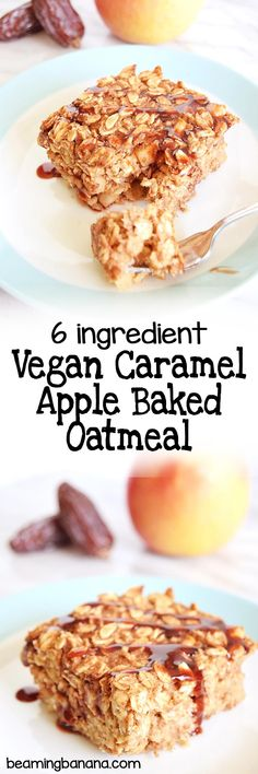 Vegan caramel apple baked oatmeal is dense, rich, and full of your favorite fall caramel apple flavors! Made with just a few simple, healthy ingredients and fruit sweetened. Healthy Vegan Snacks, Vegan Breakfast Recipes, Delicious Vegan Recipes, Vegan Desserts, Raw Food Recipes, Easter Desserts, Vegan Cake, Vegan Meals, Healthy Meals