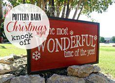 Pottery Barn Knock off Christmas Sign