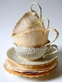 Tea Cups made out of recycled books