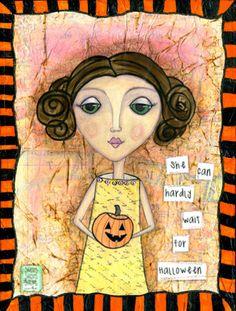 halloween mixed media art | Mixed Media Art: Halloween Jack o' Lantern Girl - 8x10 print ...