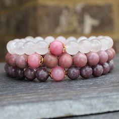 Ultimate Love, Rose Quartz Rhodonite Pink Tourmaline Rhodochrosite Yoga Wrist Mala Bracelet Set | Pink Bracelet | Pink Tourmaline Mala |