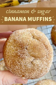 Banana Muffins taste like banana bread with a sweet cinnamon & butter topping. All you need is one bowl. No mixer needed! Cinnamon Banana Bread, Banana Bread Muffins, Best Banana Bread, Best Banana Muffin Recipe, Köstliche Desserts, Delicious Desserts, Dessert Recipes, Yummy Food, Health Desserts