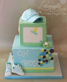 Oh Boy, Baby Shower Cake. Buttons, sneakers and hat made out of fondant. Baby Shower Cakes For Boys, Baby Boy Cakes, Baby Boy Shower, Baby Showers, Fancy Cakes, Cute Cakes, Mini Tortillas, Shower Bebe, Baby Shower Gender Reveal