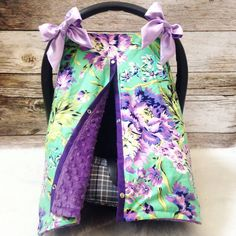 Purple green floral summer carseat canopy cover by SnugglyLilBabes