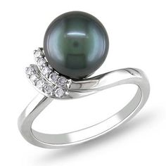 8.0 - 8.5mm Cultured Tahitian Pearl and 1/10 CT. T.W. Diamond Ring in 10K White Gold - Zales