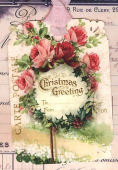 Shabby Christmas Roses Gift Tags by Bluebird Lane