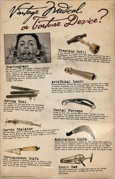 Image detail for -Vintage Medical Devices or Torture Devices? by amie Instruments, Mental Asylum, Medical Technology, Medical Science, Medical History, Medical Equipment, Medical Care, Dentistry, Human Body