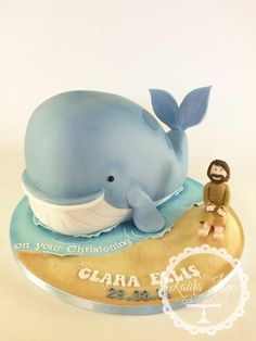 Jonah and the Whale - Cake by Laura Davis Snail And The Whale, Jonah And The Whale, Whale Birthday Parties, Birthday Cakes, Whale Cookies, Underwater Birthday, Whale Party, Penguin Cakes, Gravity Defying Cake