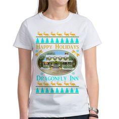 Dragonfly Inn Holiday Tee Gilmore Girls #DragonflyInn dark and light For all my #GilmoreGirls designs click here -  http://www.cafepress.com/profile/thetshirtpainter?searchTerm=gilmoregirlstv