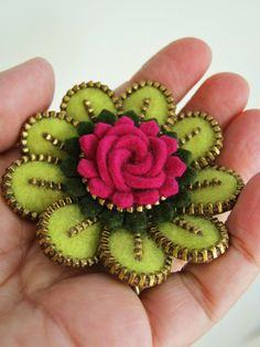 inspiration  ...  Felt and zipper  flower brooch...lime green ❤ by woollyfabulous