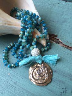 Beachy boho artisan mermaid pendant hand knot aqua blue