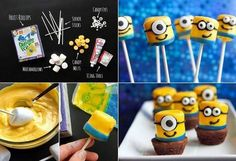 Easy To Make Delicious Despicable Me Minions Ingredients: 17 marshmallows (large ones) 3 cups of yellow candy melts 4 blue Fruit Roll-ups black icing 34 sm. candy's for the eyeballs Popsicle sticks Marshmallow Treats, Creative Desserts, Creative Food, Minion Party Food, Minion Treats, Donuts, Yummy Treats, Yummy Food, Recipes